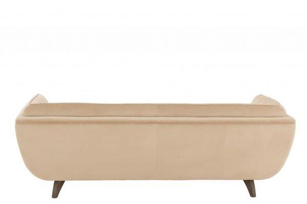 bank velvet beige houten poten