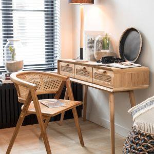 bureau sidetable werkplek teak hout naturel