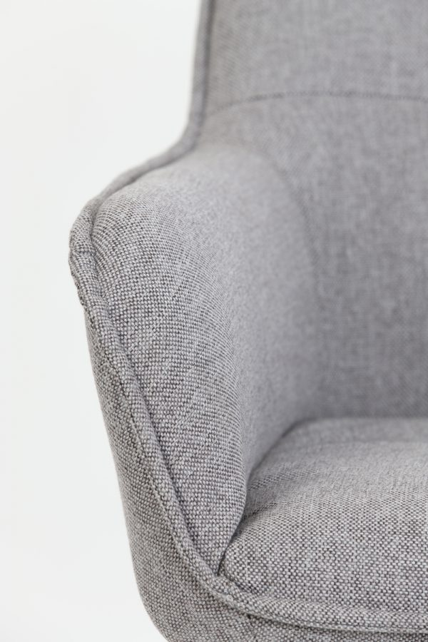 eetkamerstoel armleuning Scandinavisch grijs bruin zwarte poten
