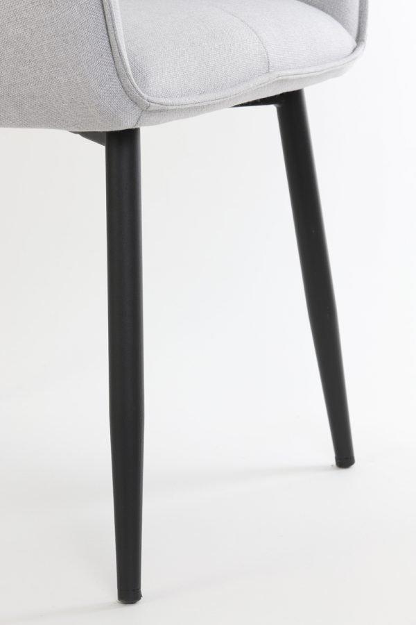eetkamerstoel armleuning Scandinavisch licht grijs zwarte poten