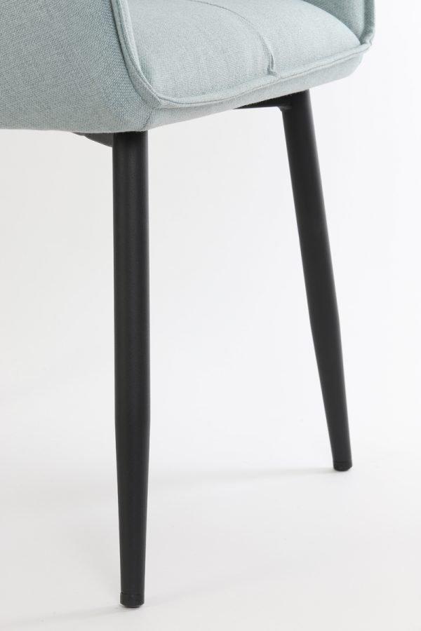 eetkamerstoel armleuning Scandinavisch mint groen zwarte poten