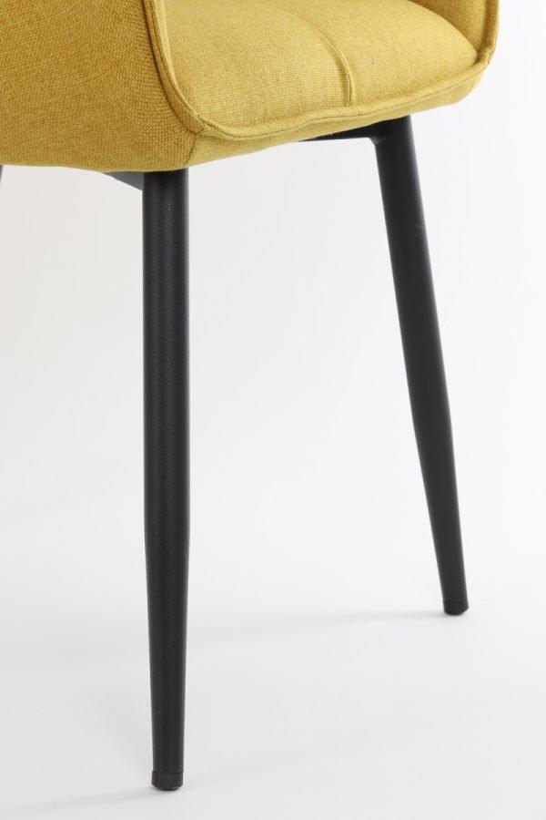 eetkamerstoel armleuning Scandinavisch okergeel zwarte poten