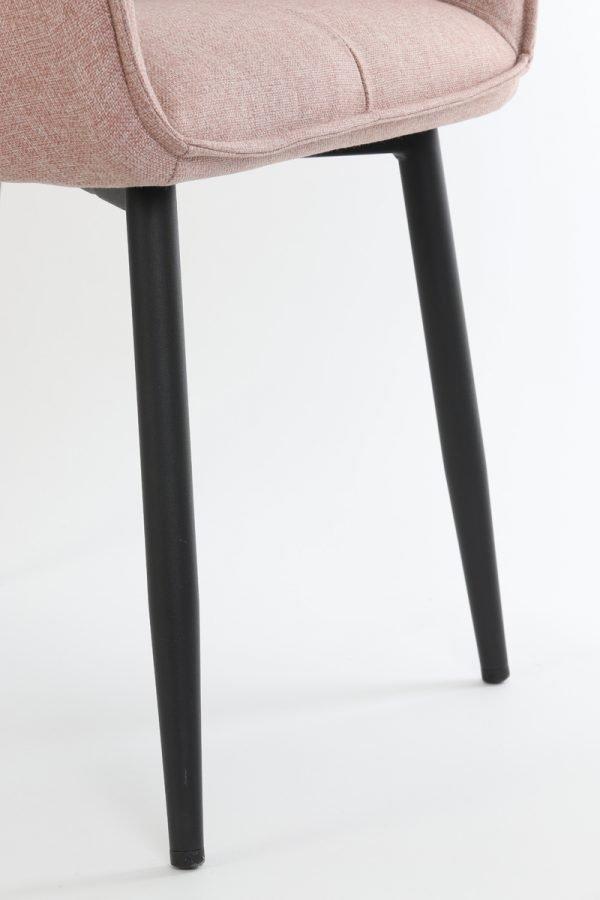 eetkamerstoel armleuning Scandinavisch oud roze zwarte poten