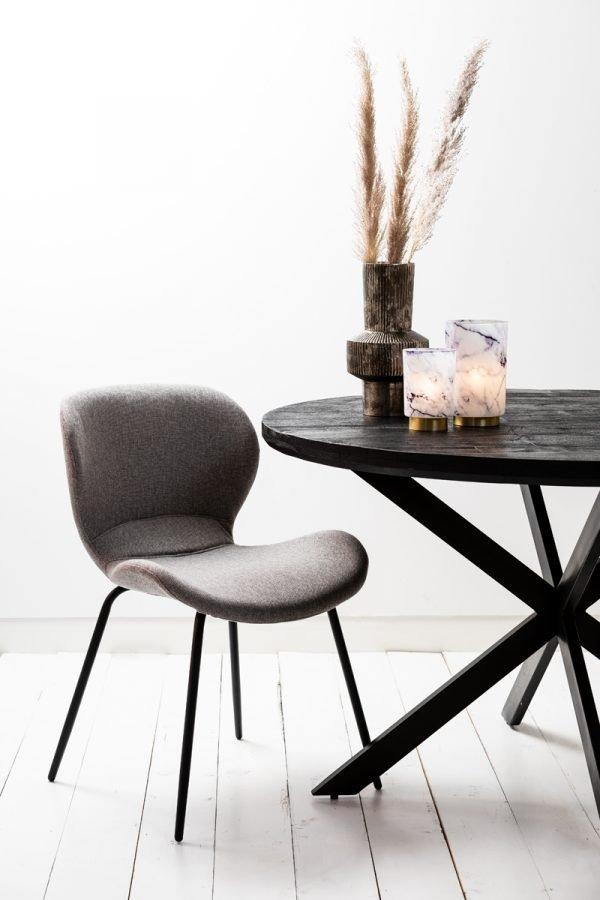 eetkamerstoel Scandinavisch grijs bruin zwarte poten