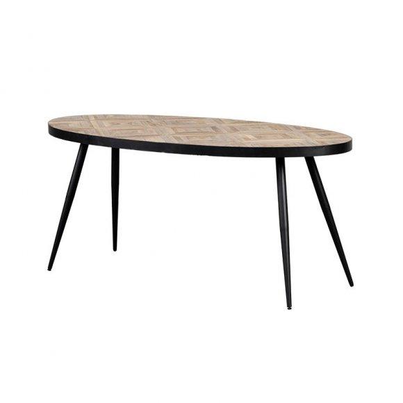 eettafel ovale ovaal metaal teak hout zwart frame