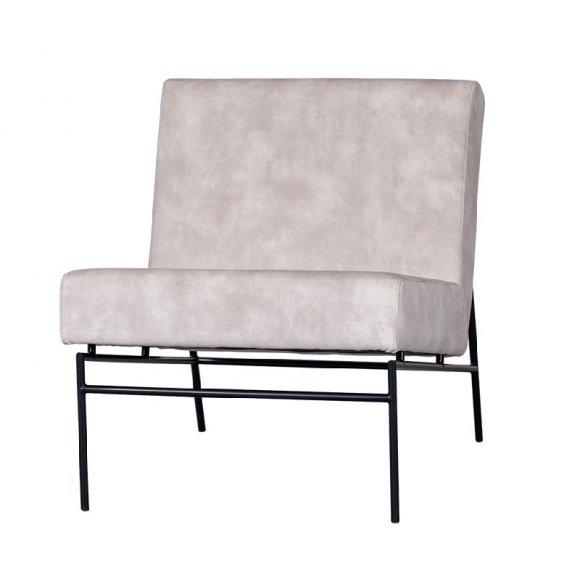 fauteuil beige zwart frame metaal