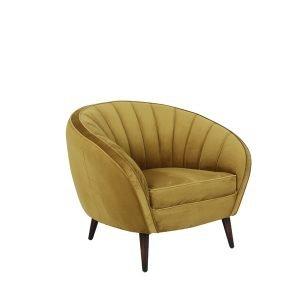 fauteuil okergeel velvet luxe zwarte poten