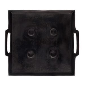 kaarsenhouder stoer vierkant zwart metaal