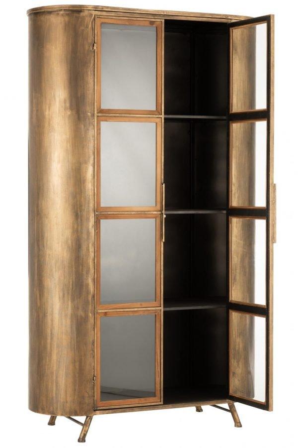 kast metaal antiek goud poten glazen deuren