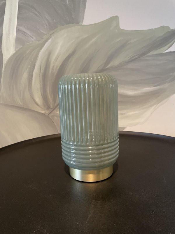 tafellamp groen grijs glas messing batterijen