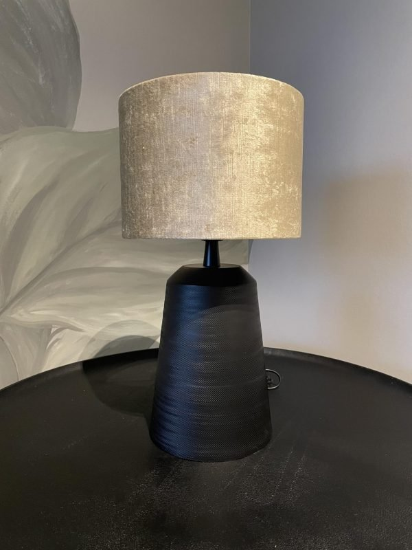 tafellamp zwart goud ronde kap velours
