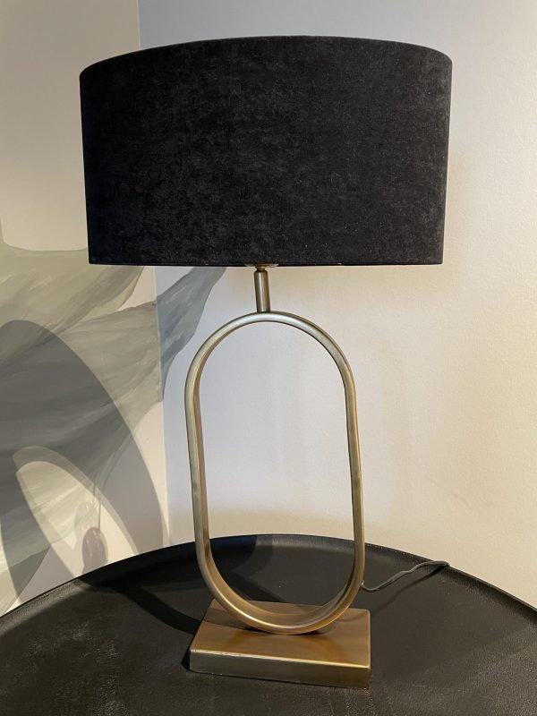 tafellamp messing ovale kap zwart velours